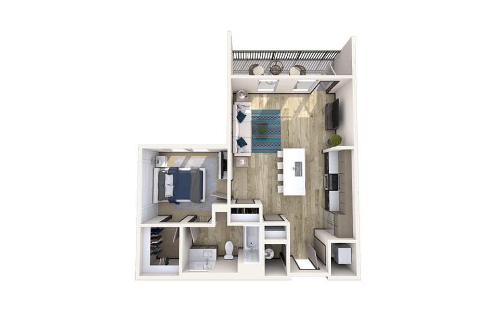 A1 - 1 bedroom floorplan layout with 1 bath and 731 square feet.