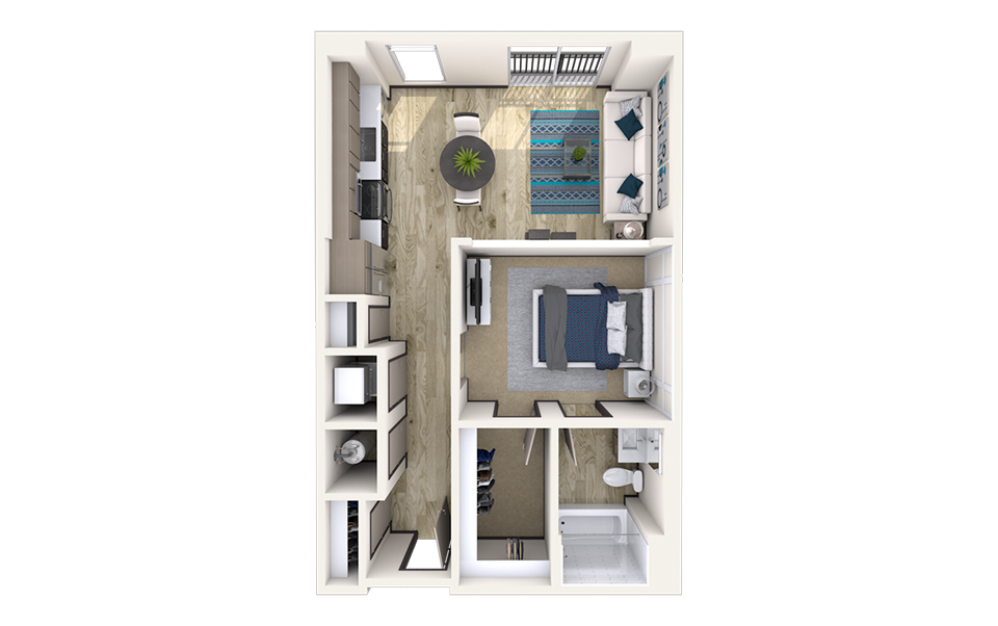 A10 - 1 bedroom floorplan layout with 1 bath and 695 to 715 square feet.