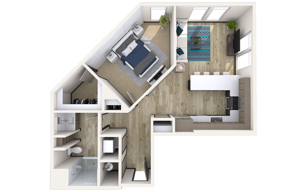 A2 - 1 bedroom floorplan layout with 1 bath and 913 square feet.