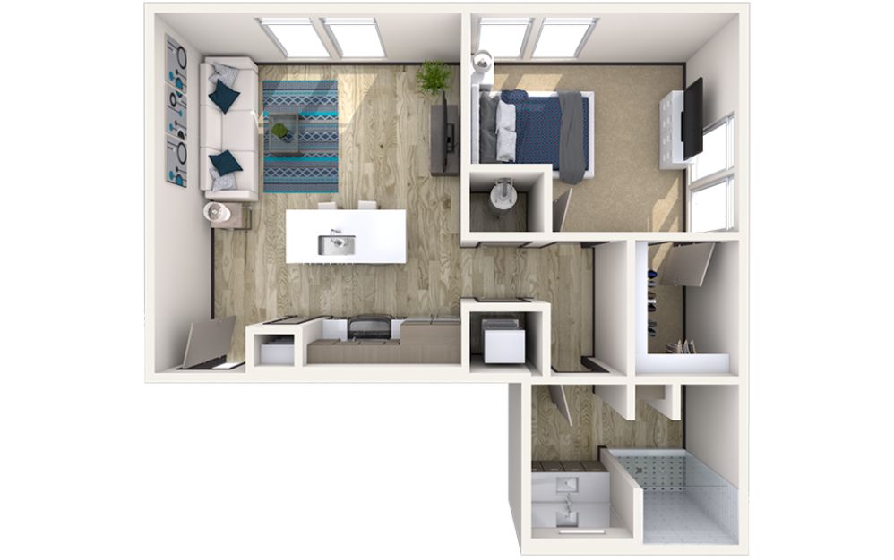 A3 - 1 bedroom floorplan layout with 1 bath and 739 square feet.
