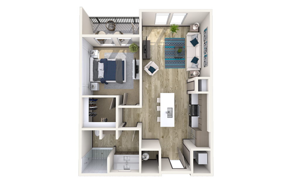 A4 - 1 bedroom floorplan layout with 1 bath and 815 to 873 square feet.