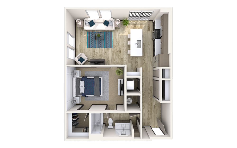 A5 - 1 bedroom floorplan layout with 1 bath and 865 square feet.