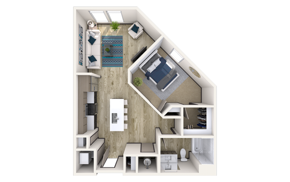 A6 - 1 bedroom floorplan layout with 1 bath and 807 square feet.
