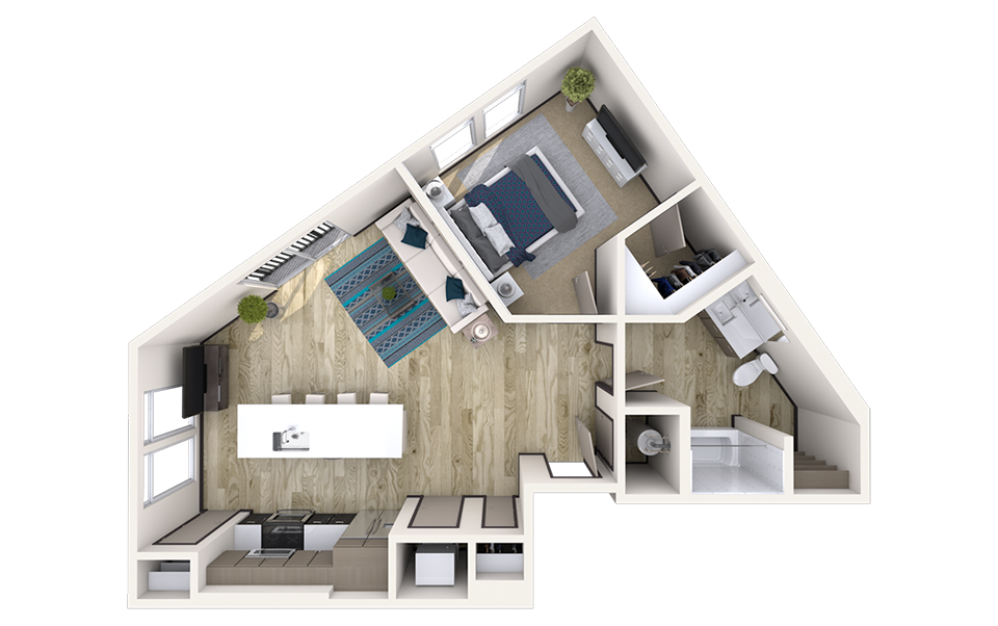 A7 - 1 bedroom floorplan layout with 1 bath and 860 square feet.