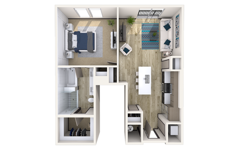 A9 - 1 bedroom floorplan layout with 1 bath and 919 square feet.