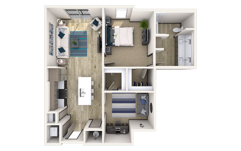 AD1 - 1 bedroom floorplan layout with 1 bath and 1033 square feet.