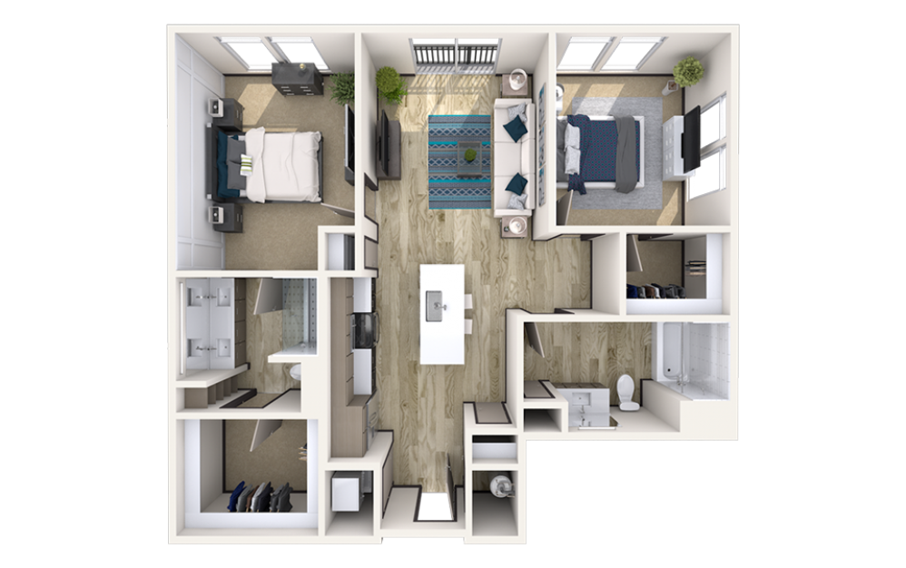 B1 - 2 bedroom floorplan layout with 2 baths and 1116 square feet.