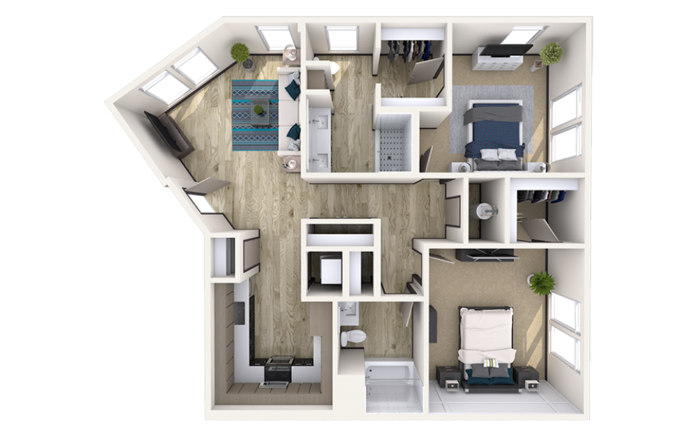 B3 - 2 bedroom floorplan layout with 2 baths and 1199 square feet.