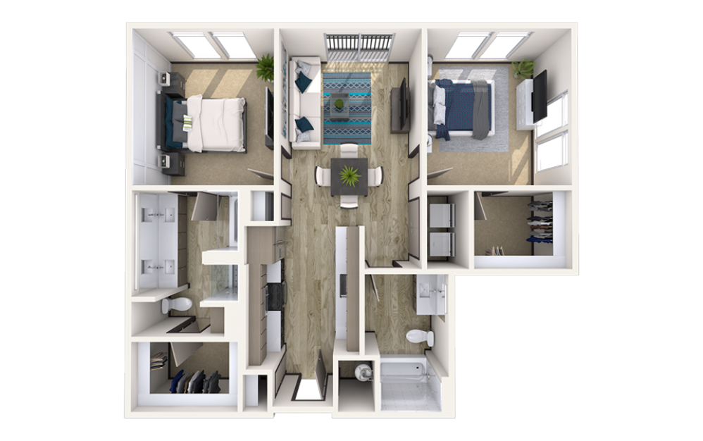 B2 - 2 bedroom floorplan layout with 2 baths and 1134 square feet.