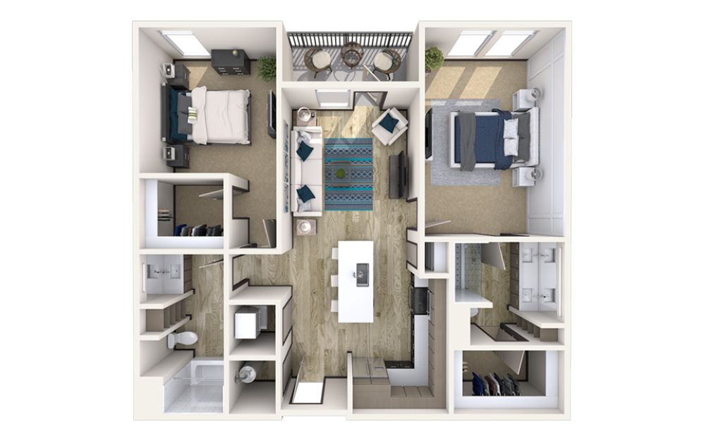 B4.2 - 2 bedroom floorplan layout with 2 baths and 1204 square feet.