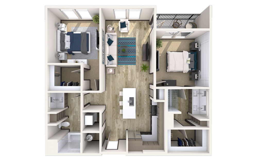 B5 - 2 bedroom floorplan layout with 2 baths and 1145 to 1230 square feet.
