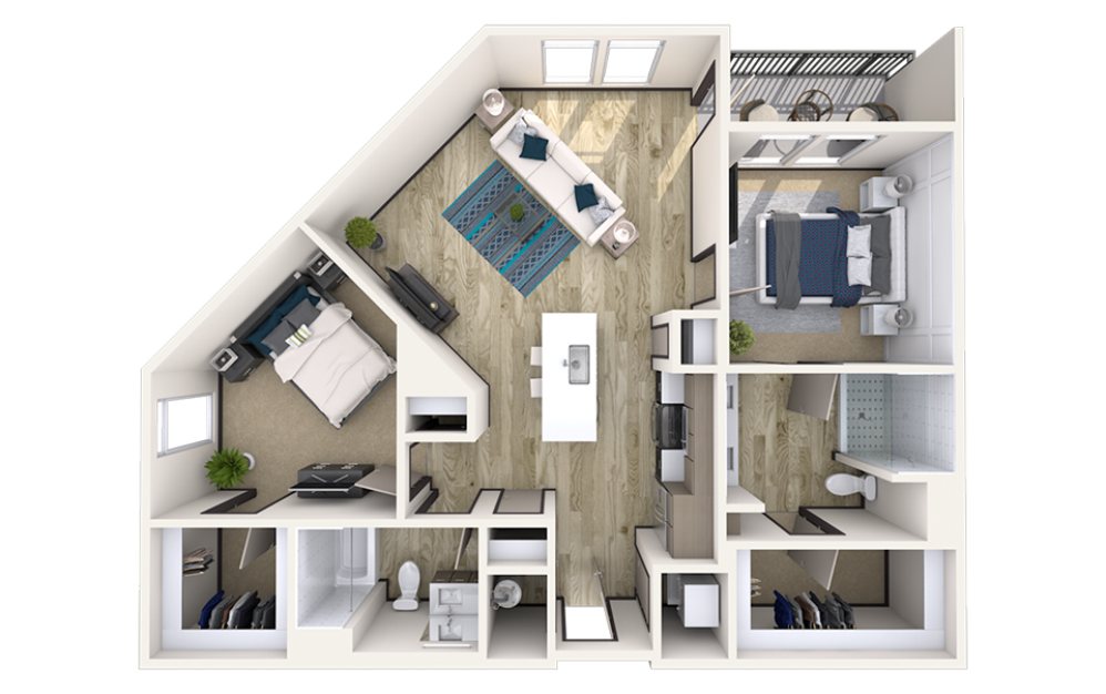 B6 - 2 bedroom floorplan layout with 2 baths and 1181 square feet.