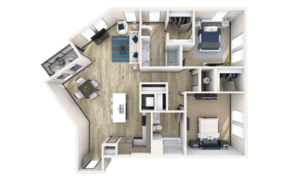 B7 - 2 bedroom floorplan layout with 2 baths and 1397 square feet.