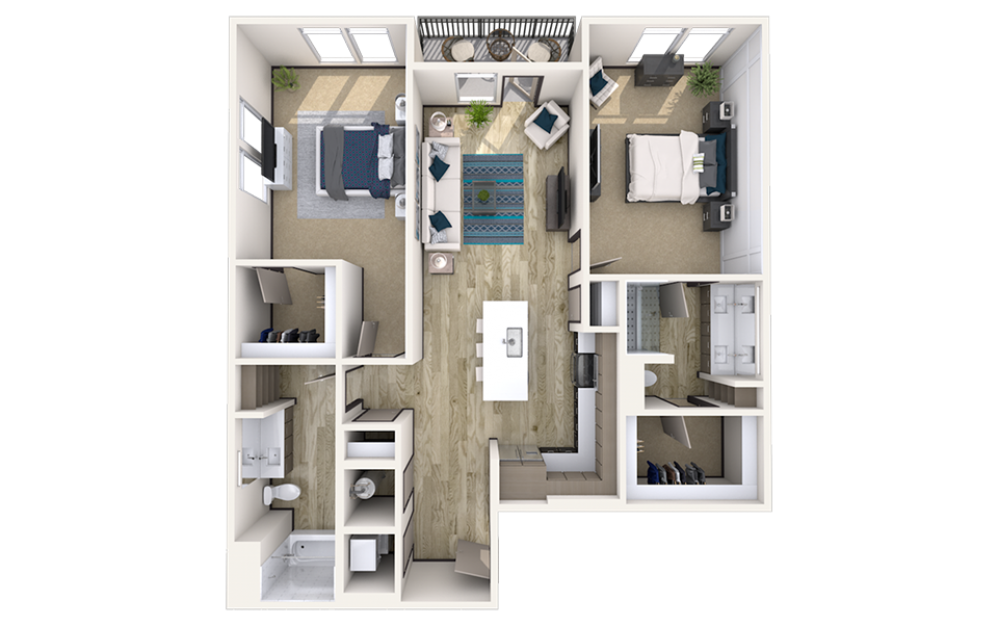 B8 - 2 bedroom floorplan layout with 2 baths and 1290 square feet.
