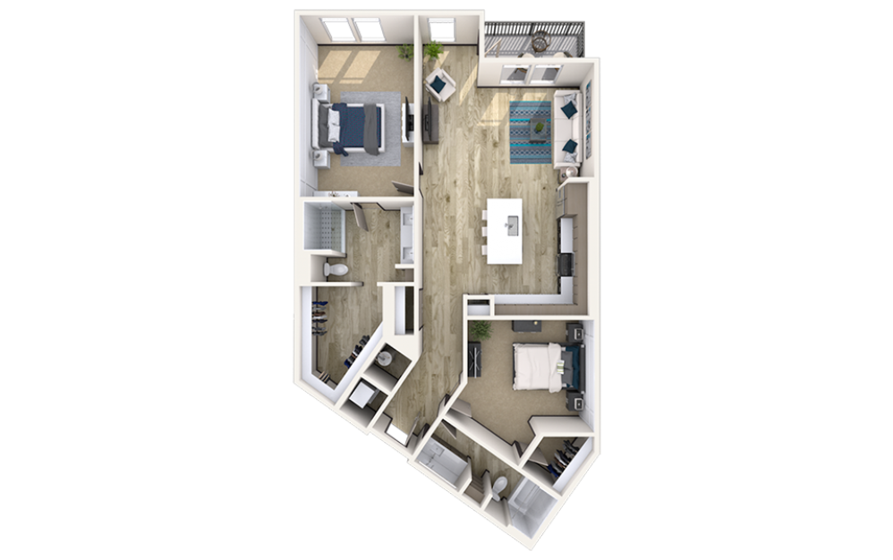 B9 - 2 bedroom floorplan layout with 2 baths and 1492 square feet.