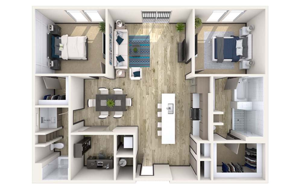 BD3 - 2 bedroom floorplan layout with 2 baths and 1473 square feet.