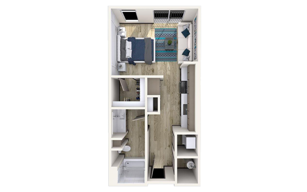 S1 - Studio floorplan layout with 1 bath and 560 square feet.